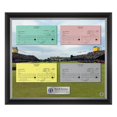 Photo of 2 of 200 L/E Henrik Stenson, Champion Golfer of Year, The 145th Open 1,2,3 and Final Round Scorecard Reproductions Framed