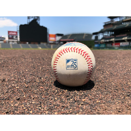 Photo of Colorado Rockies Game-Used Baseball - Pitcher: Robbie Ray, Batter: Nolan Arenado - Double (20) to Jay - June 12, 2018