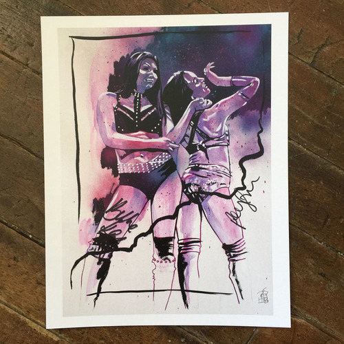 Peyton Royce and Billie Kay SIGNED 11 x 14 Rob Schamberger Print