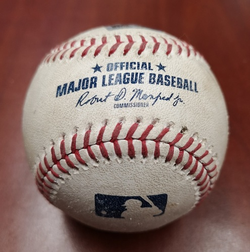 Photo of Authenticated Game Used Baseball - March 25, 2019 in Montreal vs Brewers: Orlando Arcia Singles against Jason Adam (T4)