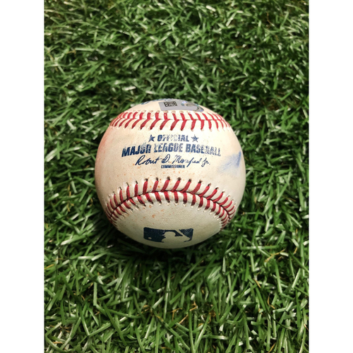 Game Used Baseball: Asdrubal Cabrera double and Danny Santana ground out off Oliver Drake - Brendan McKay MLB Debut - June 29, 2019 v TEX