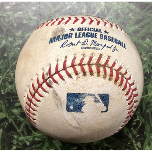 Photo of Game-Used Baseball CIN@MIL 07/22/19 - Sonny Gray - Yasmani Grandal: RBI Double