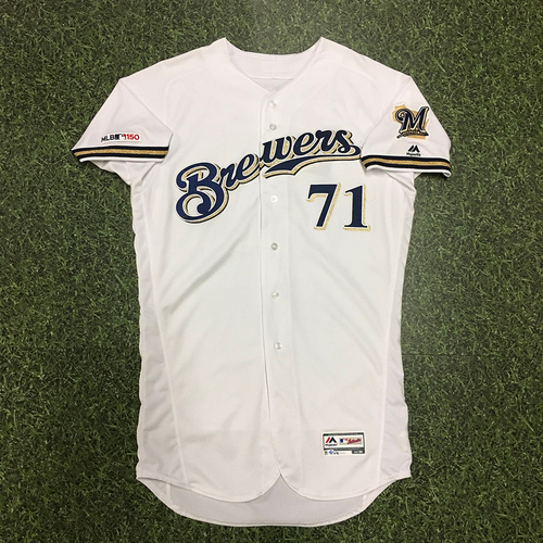 Photo of Josh Hader 09/03/19 Game-Used Home White Jersey - 1.0 IP, 0 R, 0 H, 0 BB, 2 SO, Save #28