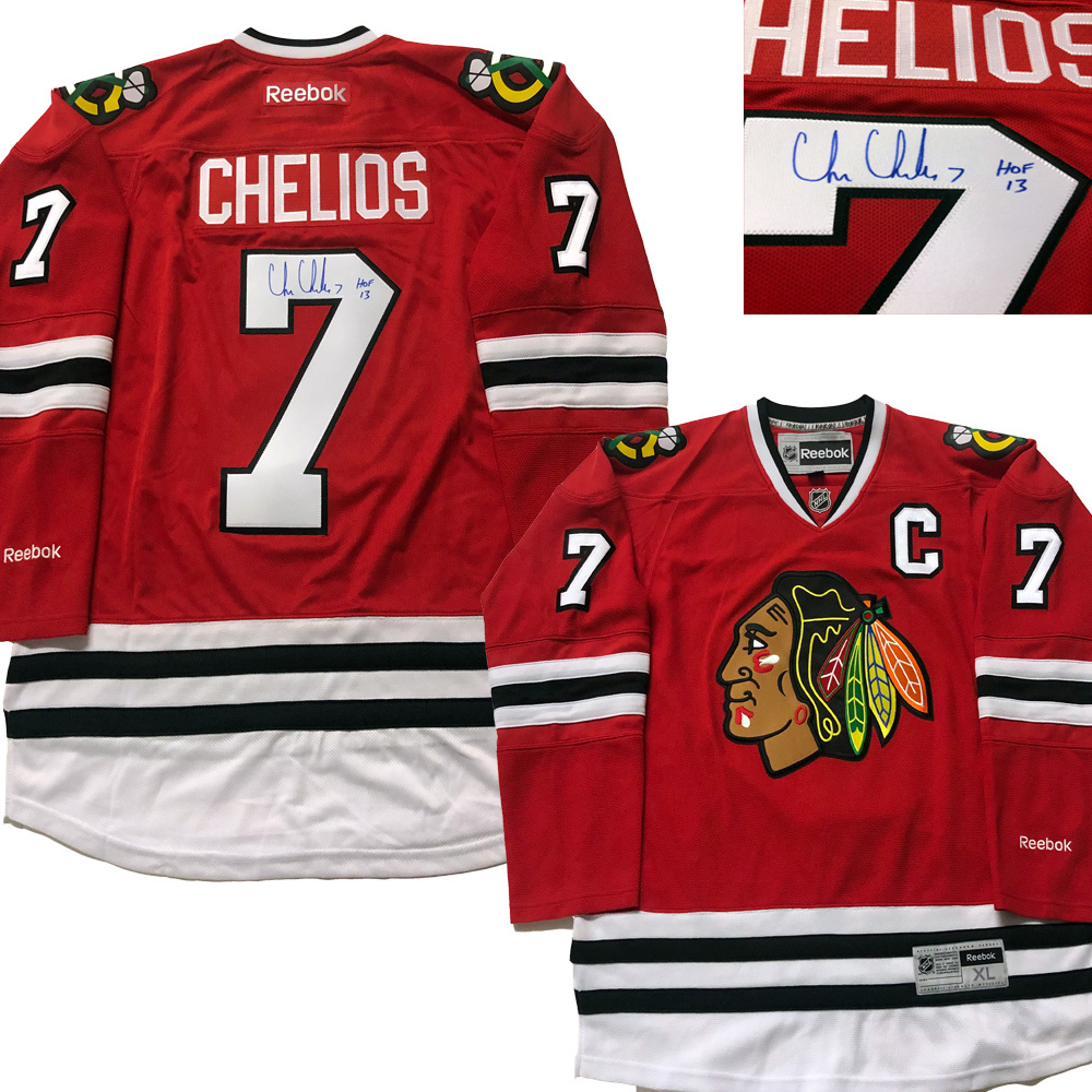 CHRIS CHELIOS Signed Chicago Blackhawks Red Reebok Jersey - HOF 13