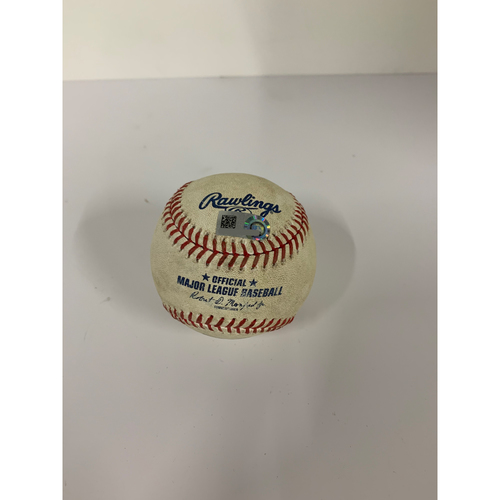 Photo of Game Used Baseball: Pitcher: Dylan Cease, Batter: Francisco Lindor (2-Run Home Run) - Bot 1 - 7-28-2020 vs. CWS (Game 1)