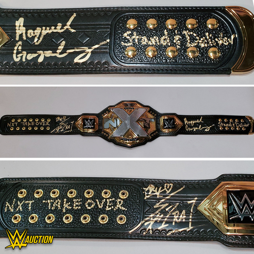 Photo of Raquel Gonzalez and Io Shirai SIGNED NXT Women's Championship Replica Title. (Stand and Deliver Face Off)