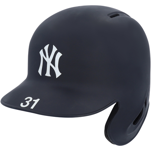 Photo of Aaron Hicks New York Yankees Game-Used Batting Helmet worn during 2019 London Series and ALCS Game 6