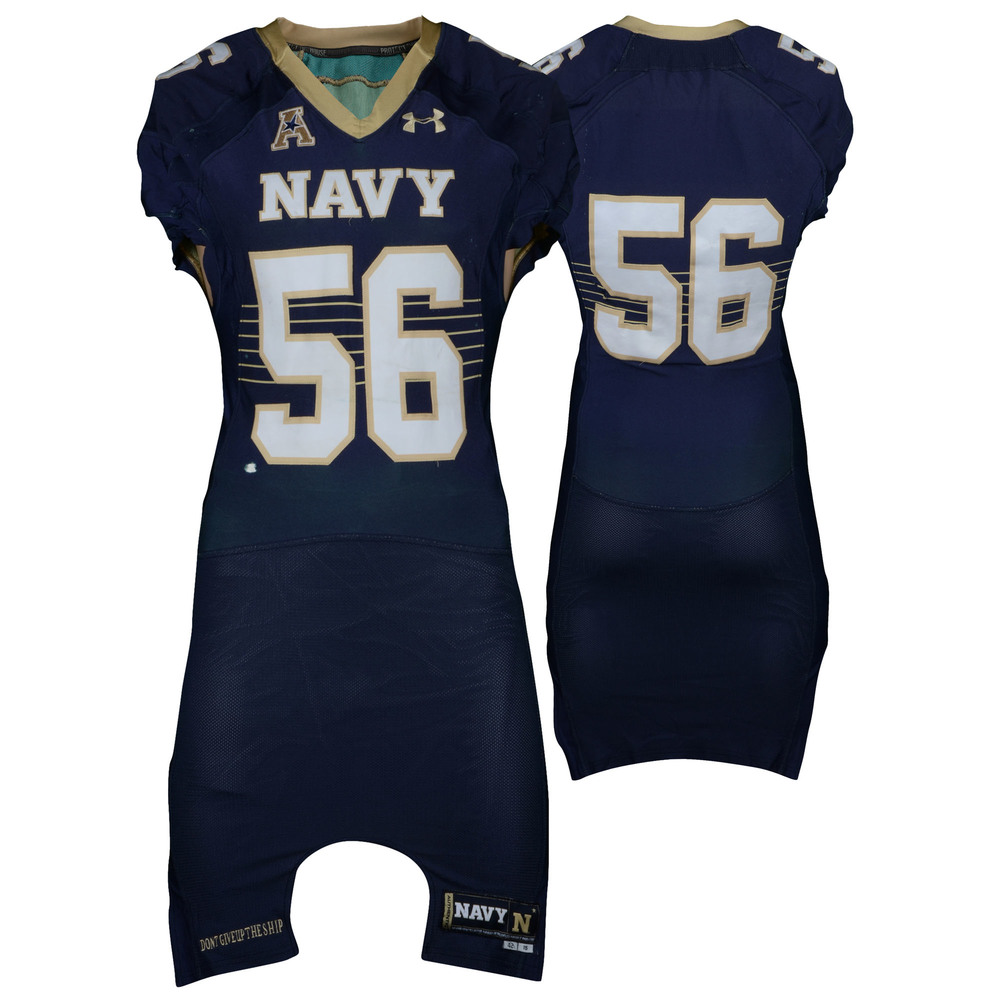 Navy Midshipmen Game-Used #56 Navy Jersey with AAC Patch from the 2014-16 Football Seasons - Size 42