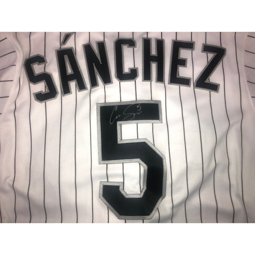 Photo of Yolmer Sanchez Autographed White Pinstripe Jersey - Size 42
