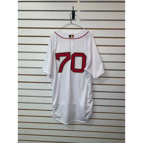 Photo of Ryan Brasier Game Used April 9, 2019 Gold Trimmed Home Jersey