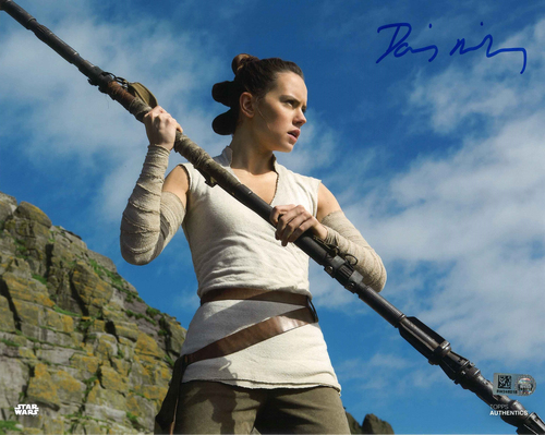 Daisy Ridley As Rey 11X14 Autographed IN 'BLUE' INK PHOTO
