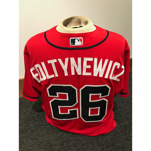Photo of Mike Foltynewicz 2019 Atlanta Braves Team-Issued Los Bravos Day Jersey