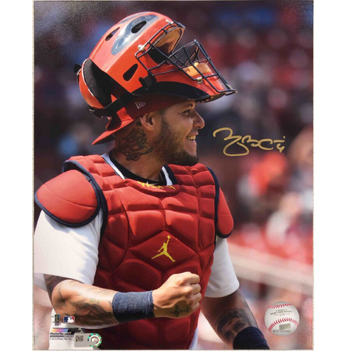 Photo of Cardinals Authentics: St. Louis Cardinals Yadier Molina Mask-Up Autographed Photo