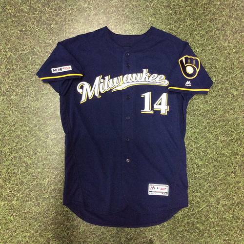 Photo of Hernan Perez 2019 Game-Used Navy Ball & Glove Jersey