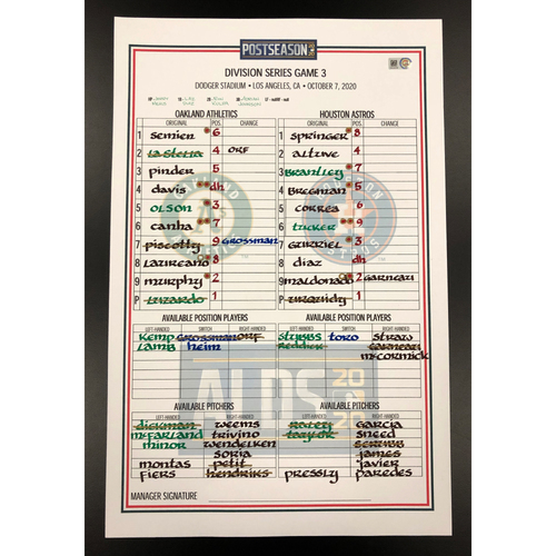 Photo of Game-Used 2020 AL Division Series Dugout Lineup Card - Game 3 (10/7/20)