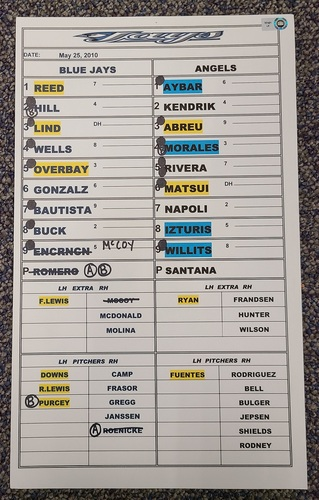 Photo of Authenticated Game Used Lineup Card (May 25, 2010 at LAA): 15th HR of Season for Jose Bautista (Franchise Record 54 HR Season)