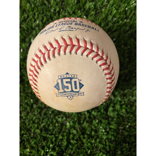 Photo of Marcell Ozuna Game Used Hit Single Baseball - Home Opener, 4/9/21, Bottom 4