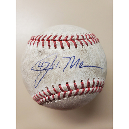 Photo of John Means Autographed Baseball from No-Hitter (Yusei Kikuchi Pitched - Ball in Dirt)
