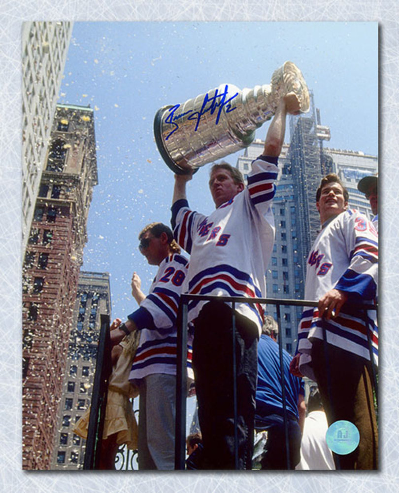 Brian Leetch New York Rangers Autographed Stanley Cup Parade 8x10 Photo