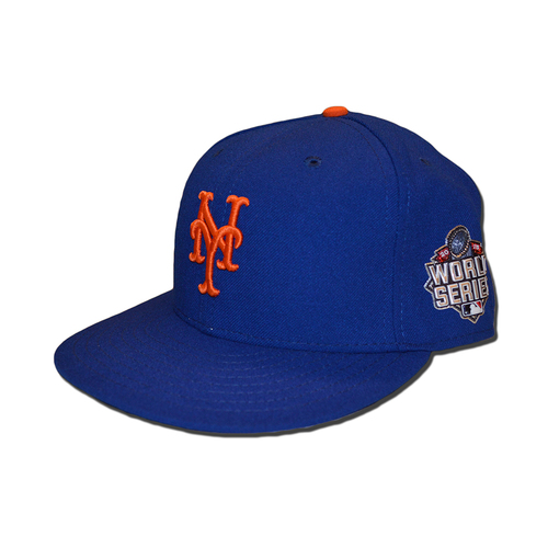 Photo of Travis d'Arnaud #7 - Game Used Blue 2015 World Series Hat - Worn During World Series Game 2, 3 and 4 - Mets vs. Royals