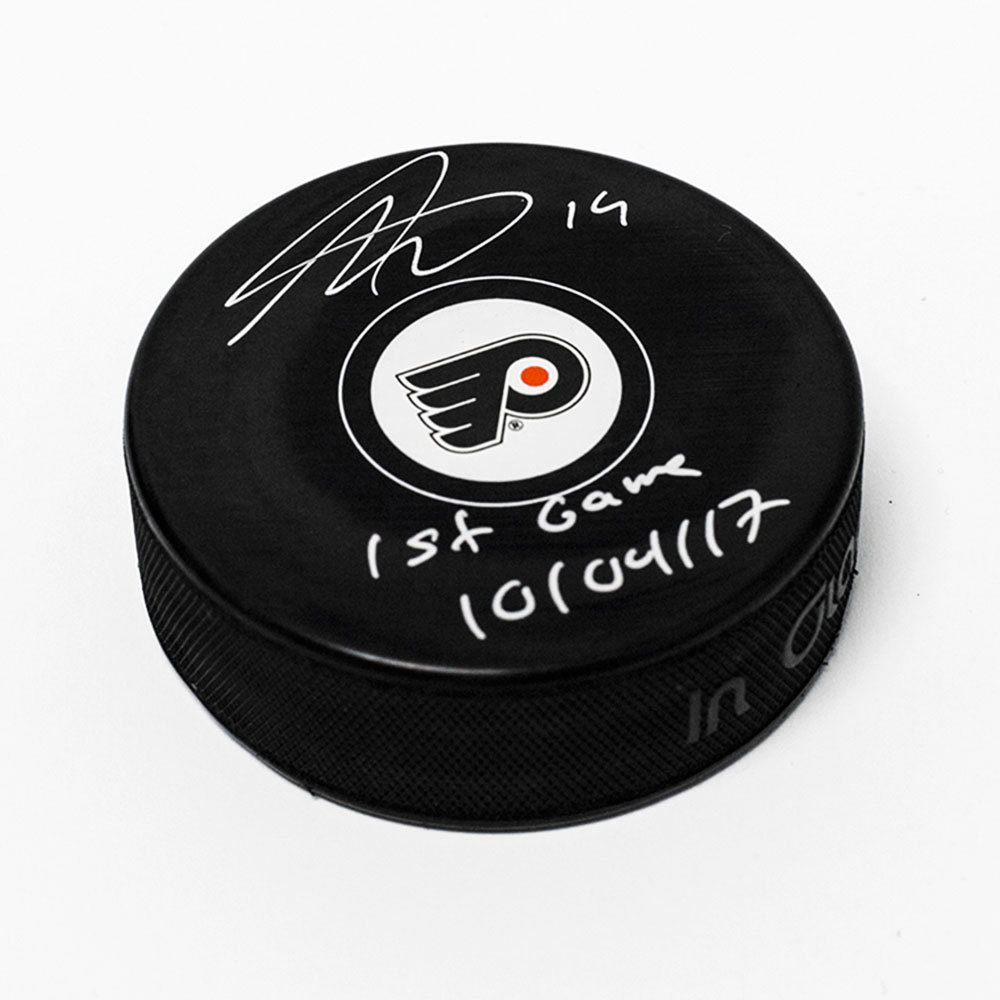 Nolan Patrick Philadelphia Flyers Autographed Model Puck with 1st Game Note