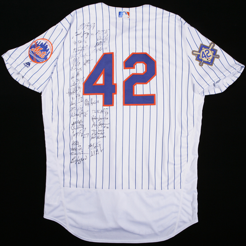 Photo of 2018 Jackie Robinson Day Jersey - New York Mets Team Signed Jersey