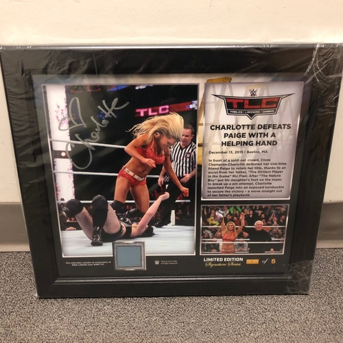 Photo of Charlotte Flair SIGNED TLC 2015 Signature Series Ring Canvas Plaque (#1 of 5)