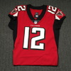 Crucial Catch - Mohamed Sanu signed and game issued Falcons jersey  (October 15, 2017) Size 42