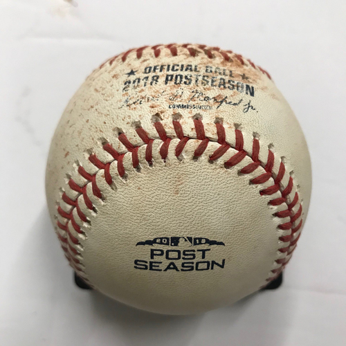 Photo of Game-Used Baseball: Pitcher: Sean Newcomb, Batters: Enrique Hernandez, Yasmani Grandal, Walker Buehler, Chris Taylor  - October 7, 2018 - Game 3 of NLDS - Dodgers at Braves