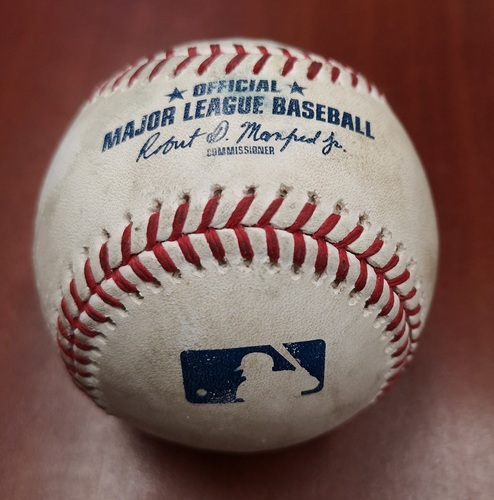 Photo of Authenticated Game Used Baseball - March 25, 2019 in Montreal vs Brewers: Bo Bichette Singles against Alex Claudio (B7)