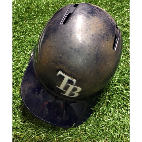 Photo of Game Used HOME RUN Batting Helmet: Brandon Lowe - September 15, 2018 v OAK (2-R HR)