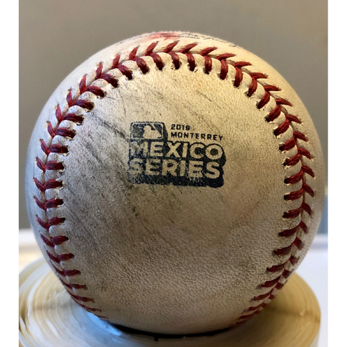 Photo of 2019 Mexico Series Game Used Baseball- Alex Bregman Single, Houston Astros at Los Angeles Angels - 5/4/19