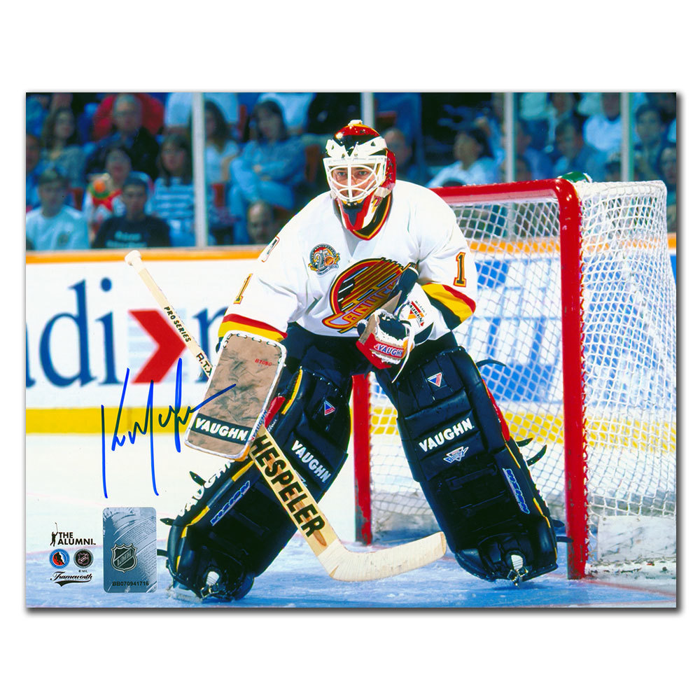 Kirk McLean Vancouver Canucks WHITE JERSEY Autographed 8x10