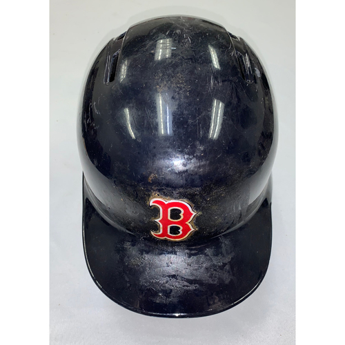 Photo of Dustin Pedroia April 5, 2018 Team-Issued Batting Helmet (Size 7 1/4)