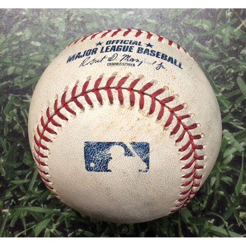 Photo of Game-Used Baseball ATL@MIL 07/15/19 - Adrian Houser - Josh Donaldson: Single