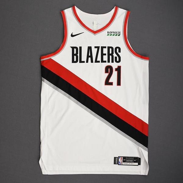 Image of Hassan Whiteside - Portland Trail Blazers - Kia NBA Tip-Off 2019 - Game-Worn Association Edition Jersey - Trail Blazers' Debut - Double-Double