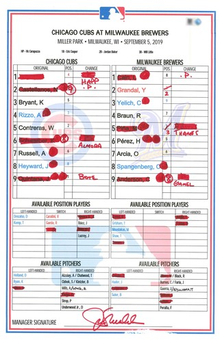 Photo of 12 Days of Auctions: Day 8 -- Game-Used Lineup Card -- Quintana 13th Win (5 IP, 4 ER, 5 K) -- Schwarber 34th HR (Grand Slam), Castellanos 21st HR -- Cubs at Brewers -- 9/5/19