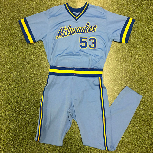 Photo of Brandon Woodruff 2018 Team-Issued 1983 Throwback Jersey (Includes Matching Team-Issued Pants)