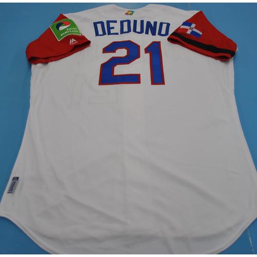 Photo of Game-Used Jersey - 2017 World Baseball Classic - Dominican Republic - #21 Samuel Deduno - Dominican Republic vs. Canada - 3/9/2017 - Size 46