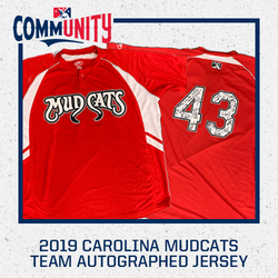 Photo of 2019 Carolina Mudcats Team Autographed Jersey
