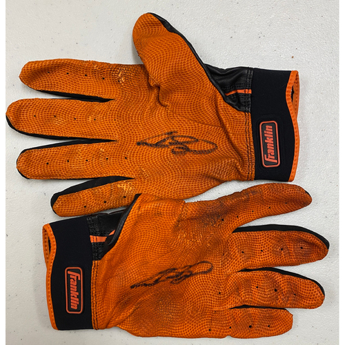 Photo of Team Issued Autographed Black & Orange Franklin Batting Gloves signed by #13 Austin Slater