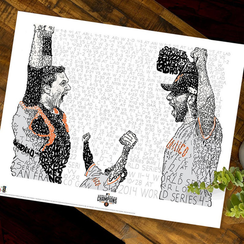 Photo of 2014  Madison Bumgarner, Buster Posey, and Pablo Sandoval celebrating the final out of the 2014 World Serie Art Print by Dan Duffy, Art of Words - San Francisco Giants