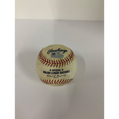 Photo of Game Used Baseball: Pitcher: Aaron Civale, Batter: Daniel Vogelbach (RBI Double) - Top 4 - 9-5-2020 vs. MIL