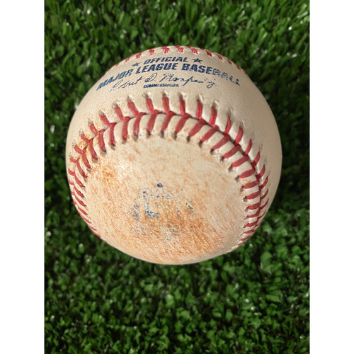 Photo of Austin Riley Game Used Hit Single Ball - Home Opener, 4/9/21, Bottom 4