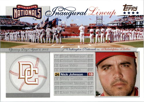 Photo of 2005 Topps Update Washington Nationals Inaugural Lineup #NJ Nick Johnson