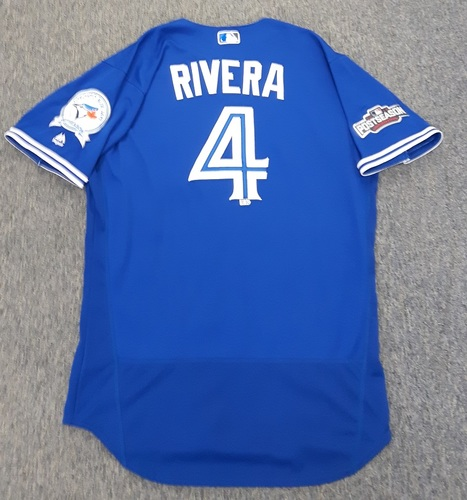 Photo of Authenticated Game Used 2016 Postseason Jersey - #4 Luis Rivera (October 4 and 9: Wild Card Game and ALDS Game 3). Size 46.