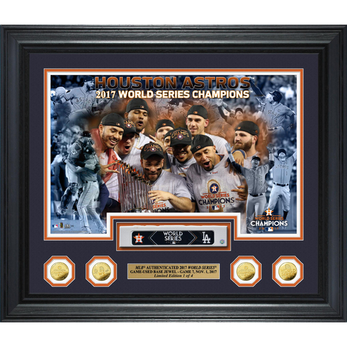 "Photo of Houston Astros 2017 World Series Champions Game 7 Game-Used Base ""Jewels"" Gold Coin Photo Mint"