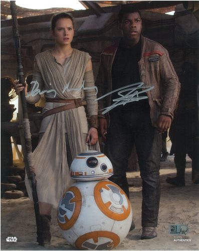 Daisy Ridley as Rey and John Boyega 11x14 Dual Autographed in Silver Ink Photo
