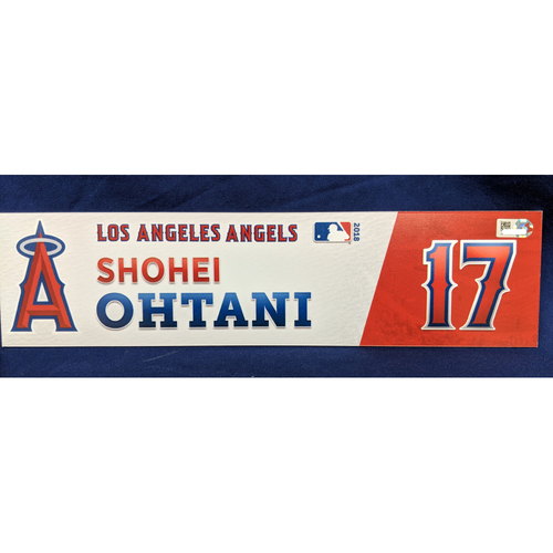 Photo of Shohei Ohtani Game-Used 2018 Home Opener Locker Tag