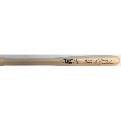 "Photo of Brandon Belt Autographed ""12,14 WS Champs"" Louisville Slugger Bat"